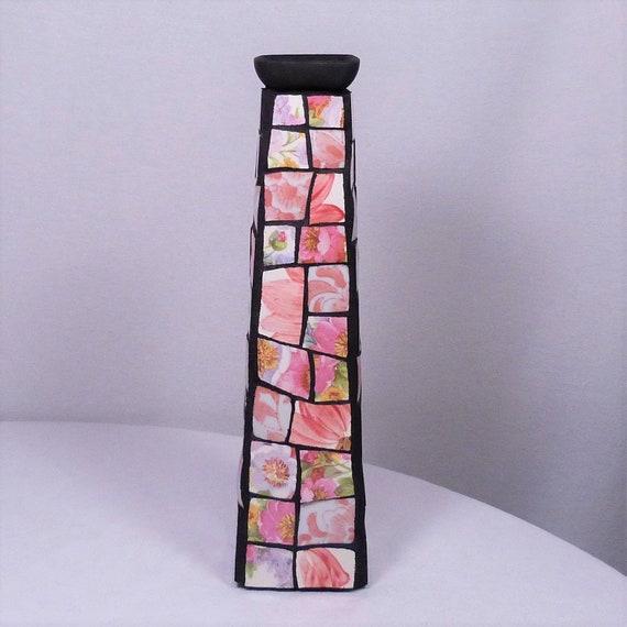 Tall Mosaic Vase Etsy