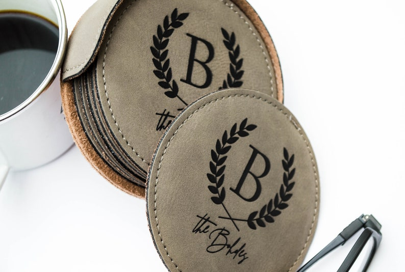 Personalized Leather Coasters Leather Coasters Personalized Leather Personalized Coasters Personalized Gift Wedding Gift Custom