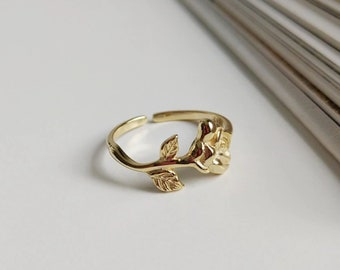 2517000109 925 Sterling Sliver Adjustable Rose Ring Dainty Rings Delicate Jewelry  Branch Ring Floral Ring Band Ring Blossom Ring