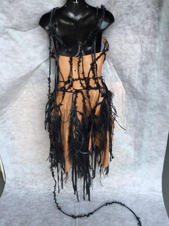 CORSET TAN LEATHER/costume corset/corset with bla… - image 4