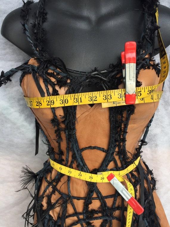 CORSET TAN LEATHER/costume corset/corset with bla… - image 6