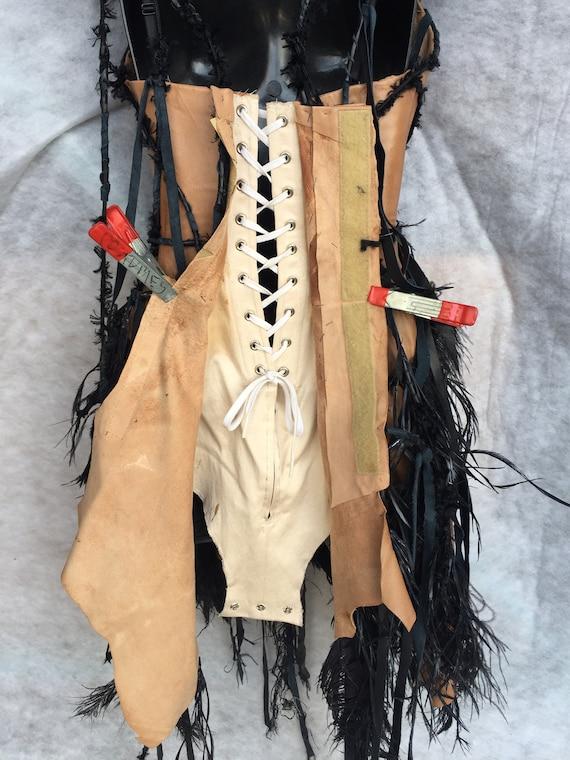 CORSET TAN LEATHER/costume corset/corset with bla… - image 5