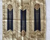 LANVIN Handkerchief Scarf Bandana Pocket Square 14 quot x14 Silk Grecian Columns Vtg
