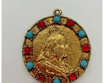 Canada Queen/'s Jubilee 1837 1887 Coin Gold Pendant with Jewels