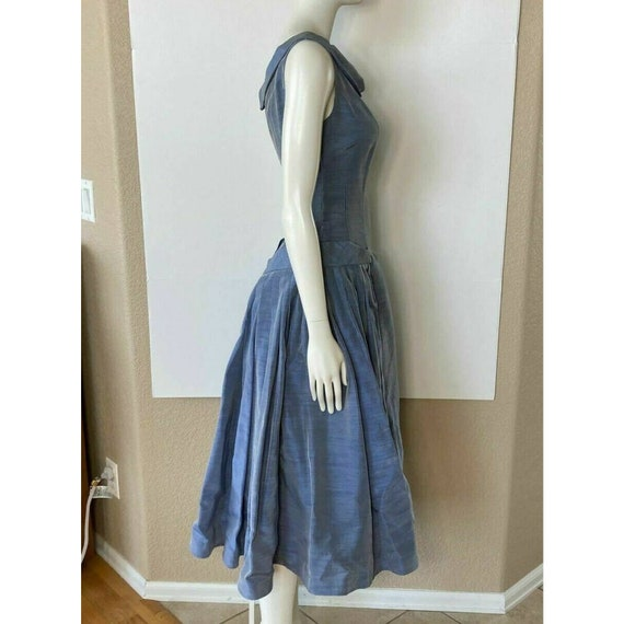 Vintage 1950s Dress Tea Party Prom Blue Sweethear… - image 7