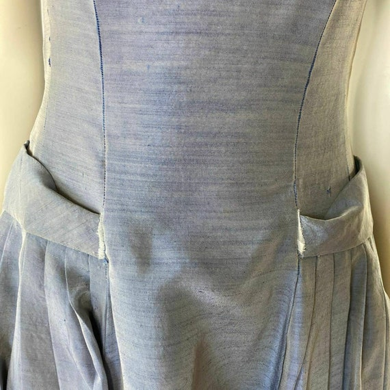 Vintage 1950s Dress Tea Party Prom Blue Sweethear… - image 4