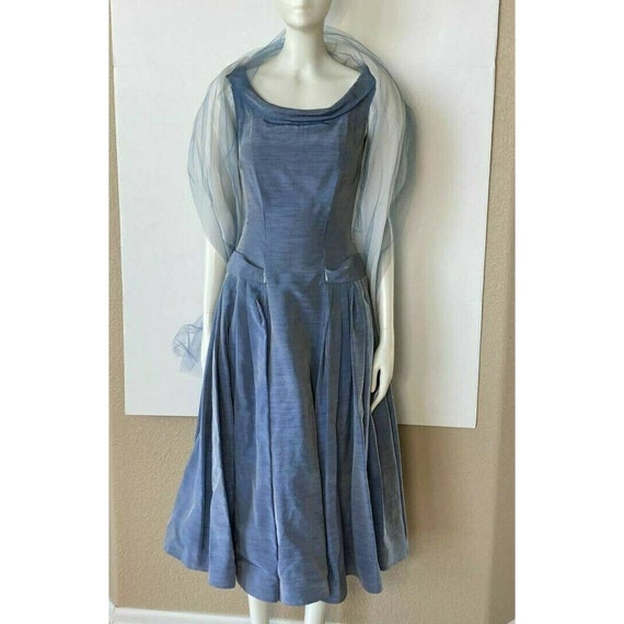 Vintage 1950s Dress Tea Party Prom Blue Sweethear… - image 1