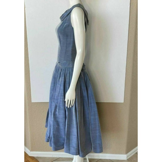 Vintage 1950s Dress Tea Party Prom Blue Sweethear… - image 9