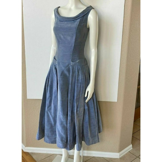 Vintage 1950s Dress Tea Party Prom Blue Sweethear… - image 10