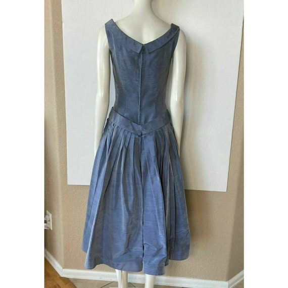 Vintage 1950s Dress Tea Party Prom Blue Sweethear… - image 8