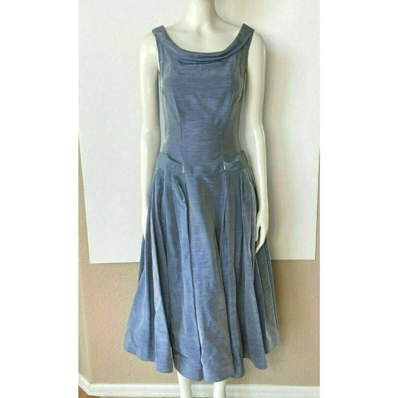 Vintage 1950s Dress Tea Party Prom Blue Sweethear… - image 3