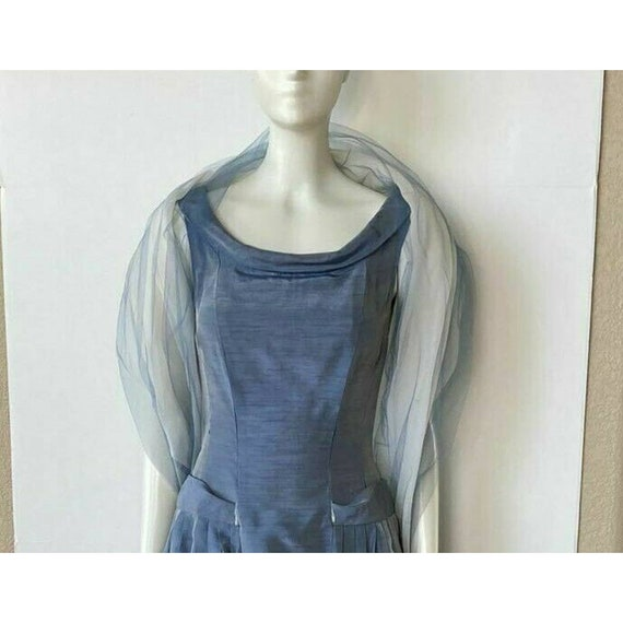 Vintage 1950s Dress Tea Party Prom Blue Sweethear… - image 2