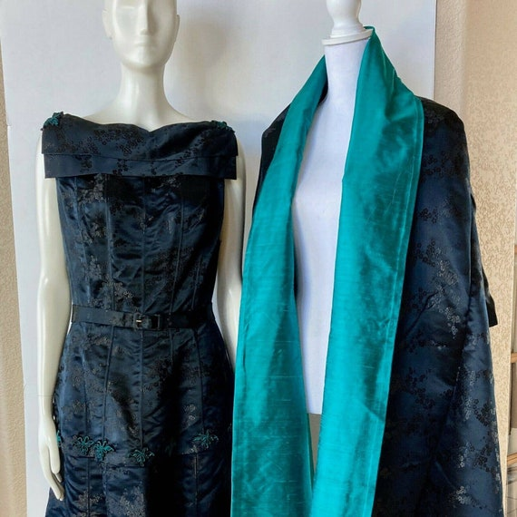 Asian Silk Formal Dress 2 PC Small Tiered Black Teal Embroidered Frog Detail w Reversible Wrap