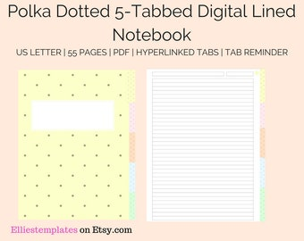 Binder tab template etsy polka dotted digital 5 tab lined student notebook template digital lined customizable notebook ipad college school instant download maxwellsz
