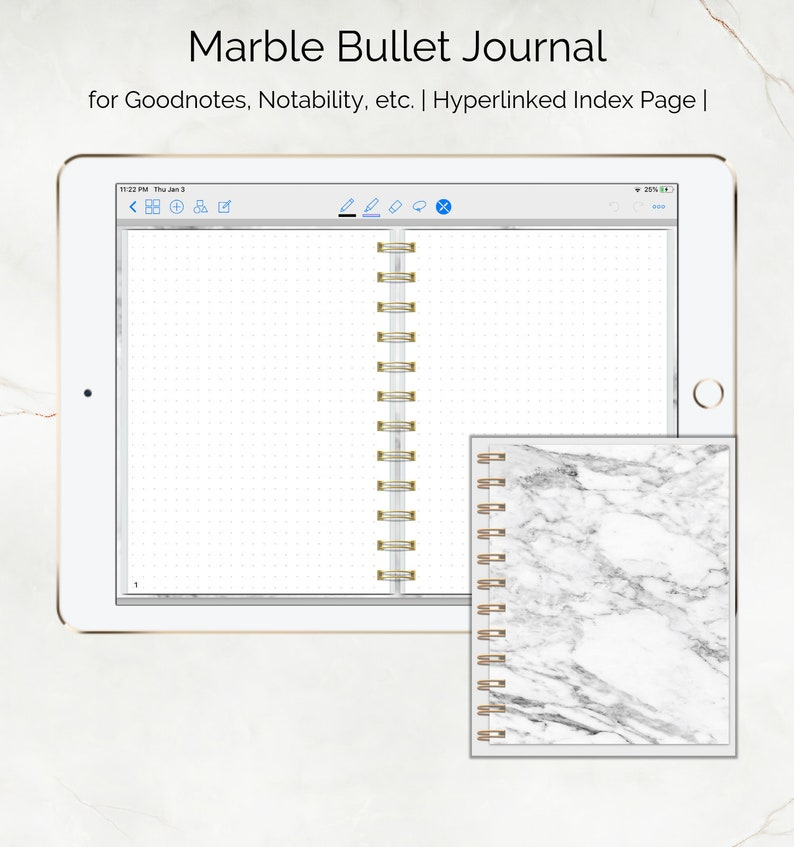 Digital Marble Bullet Journal Dotted Pages | Ipad Pro | Tablet |
