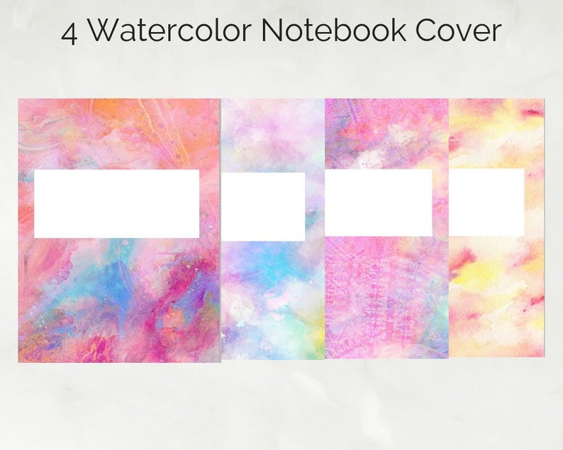 picture relating to Printable Notebook Cover identify 4 Watercolor Laptop computer Protect Electronic/Printable Laptop computer Include IPad University  Goodnotes Higher education Instantaneous Down load
