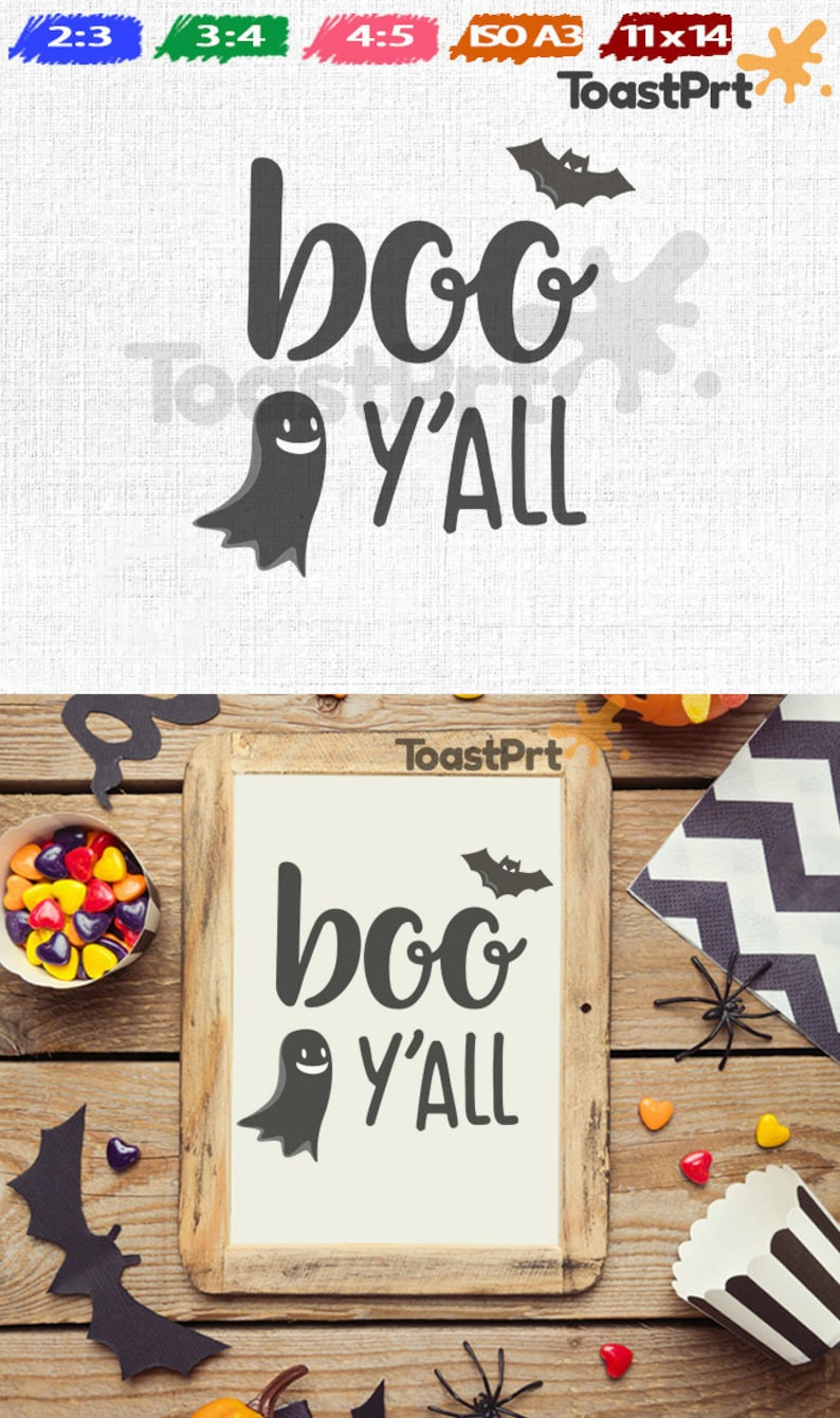image regarding Trick or Treat Signs Printable named Boo Yall Printable. Halloween Printable, Halloween Wall Decor, Artwork Prints, Poster, Signs and symptoms. Trick Or Address Printable. Ghost and Bat JPEG.