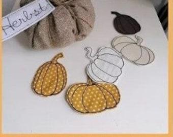 Embroidery file pumpkin 3 different motifs 10x10