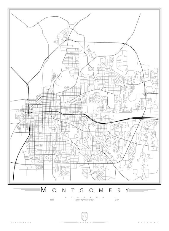 Montgomery Alabama Street Map: Black & White   Etsy