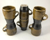 Golden Green on Black Two Tone Ceramic Mugs Single & Multiples