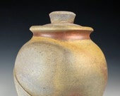 Wood Fired Storage Jar, Stoneware Vase with Lid, Lidded Vase
