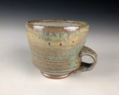 Handmade Mug, Soda Fired Mug, Green Ceramic Mug