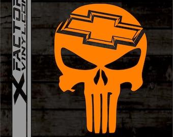 Chevrolet Skull Piston Gas Mask Sticker Window Vinyl Decal Sport Camaro Cruze