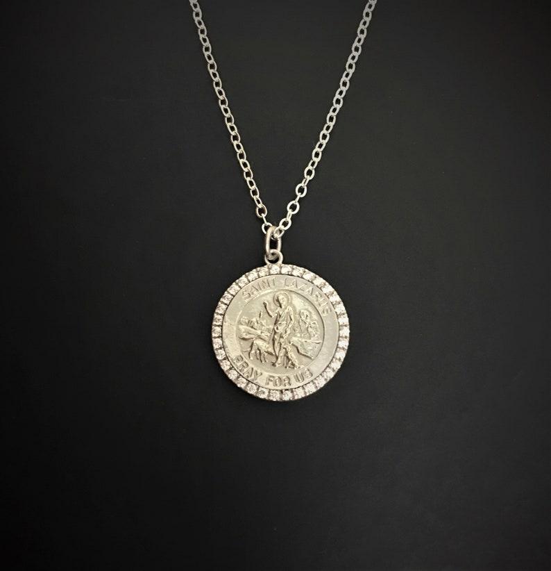 c43dd1ae57d Saint Lazarus Pray for us St Lazarus Necklace Medal | Etsy
