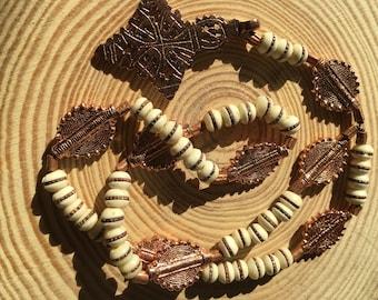 Hand Hammered Ethiopian Copper and Camel Bone ELCA Lenten Rosary Prayer Beads