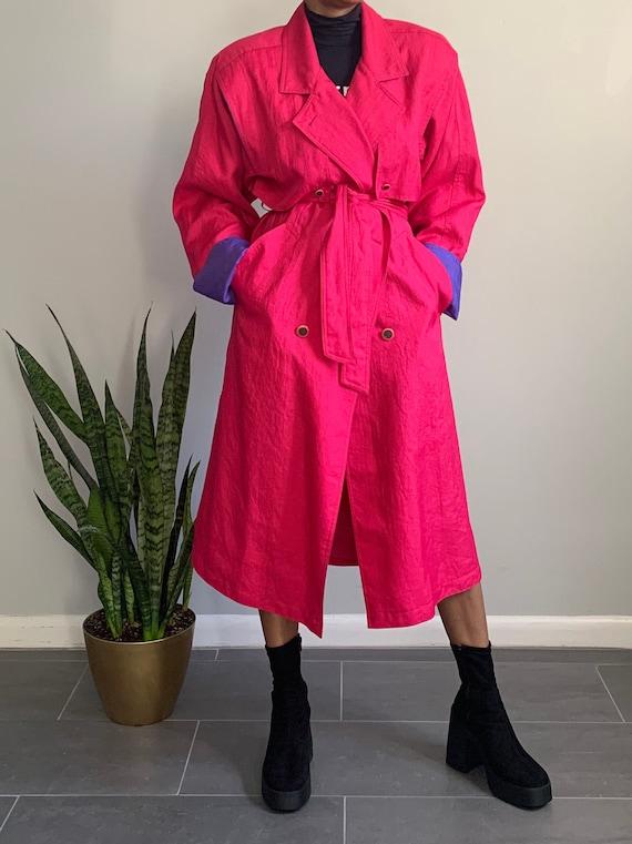 Vintage Pink N' Purple Trench Coat - image 1