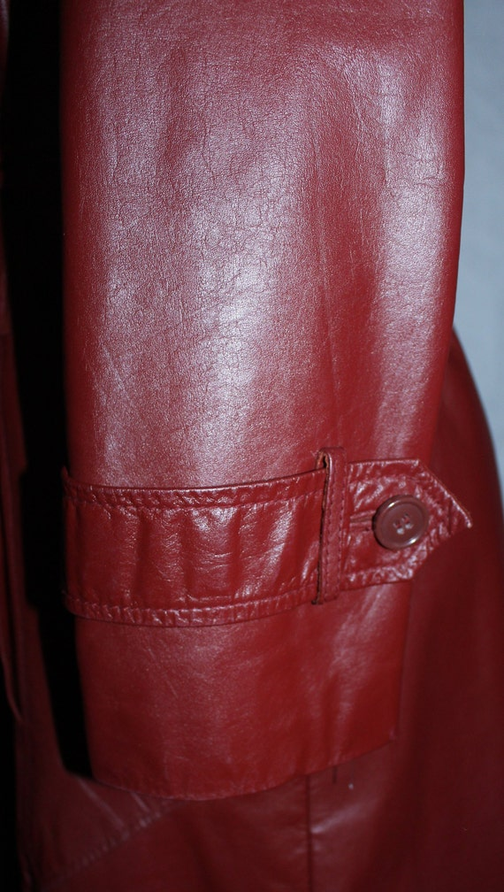 Vintage 1970s Leather & Fur Trench Coat - image 5