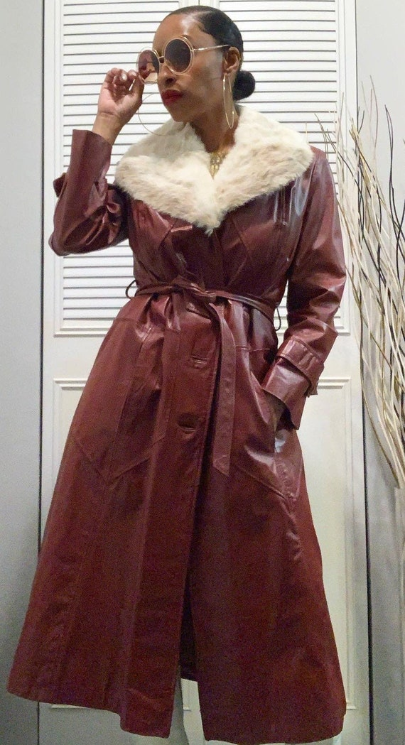 Vintage 1970s Leather & Fur Trench Coat - image 1