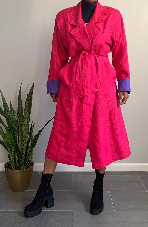 Vintage Pink N' Purple Trench Coat - image 7