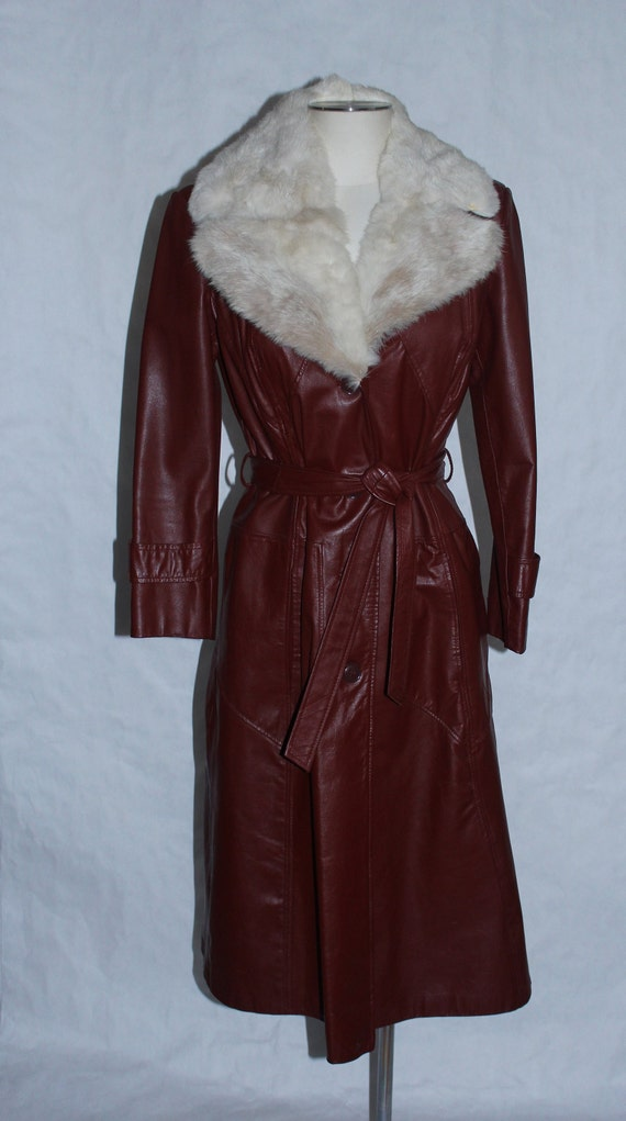 Vintage 1970s Leather & Fur Trench Coat - image 2