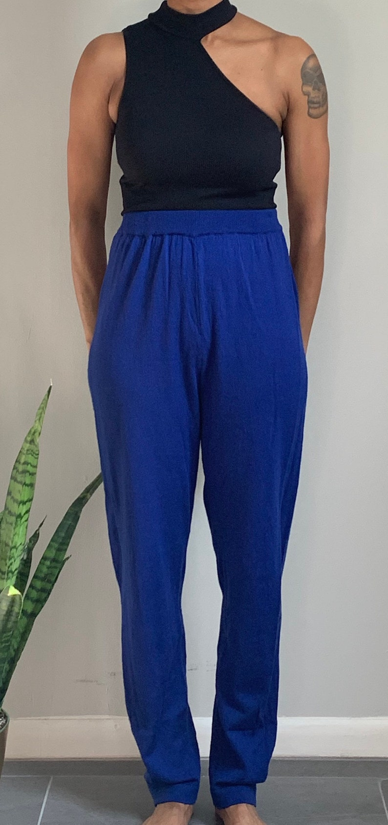 Vintage High Waisted Electric  Knit Pant