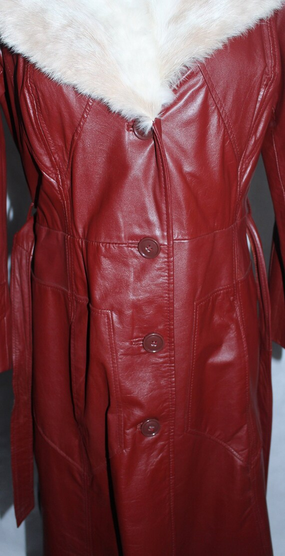Vintage 1970s Leather & Fur Trench Coat - image 6