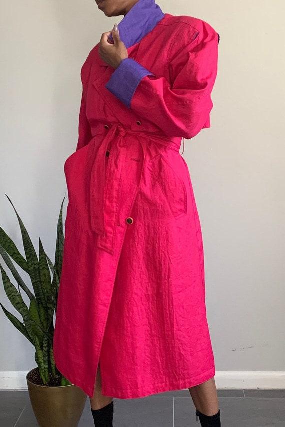 Vintage Pink N' Purple Trench Coat - image 2