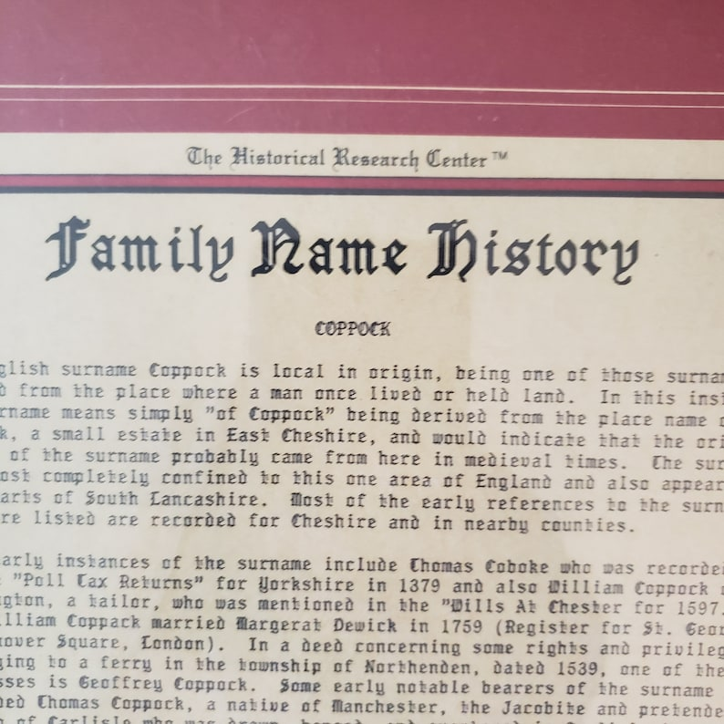 The Historical Research Center certificate for the name Coppock from 1992 numbered and original
