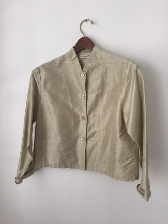 silk cropped blouse | gold shantung