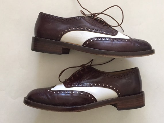 espresso and white leather oxfords | wingtip spec… - image 1