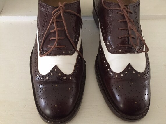 espresso and white leather oxfords | wingtip spec… - image 3