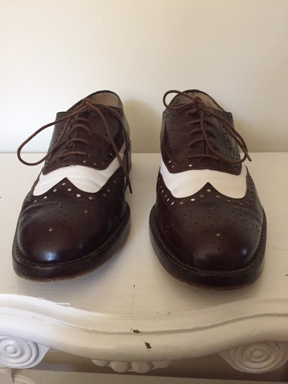 espresso and white leather oxfords | wingtip spec… - image 6