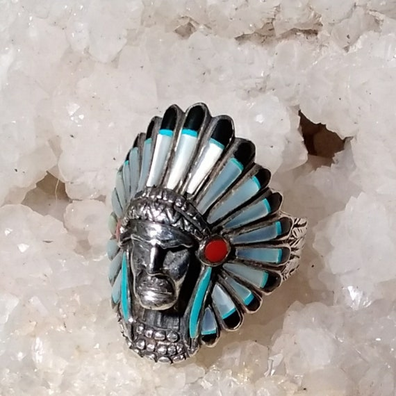 Vintage Silver and Stones Chief Ring