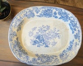 Massive 19th Century Blue and White Transfer Ware Meat Platter Light Blue Flow Blue English Country Farmhouse Decor Ironstone