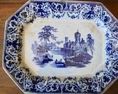 19th Century Massive Flow Blue Ironstone Platter Blue White Transferware Kaolin Ware Moselle Pattern Dimmock