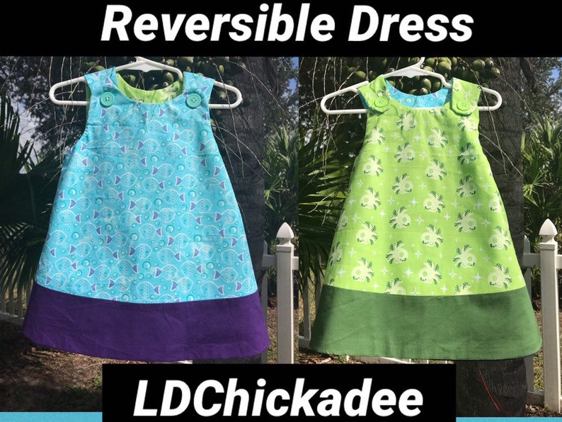 906e6e294 Reversible Baby Jumper Dress in Green Octopus and Blue Fish 18