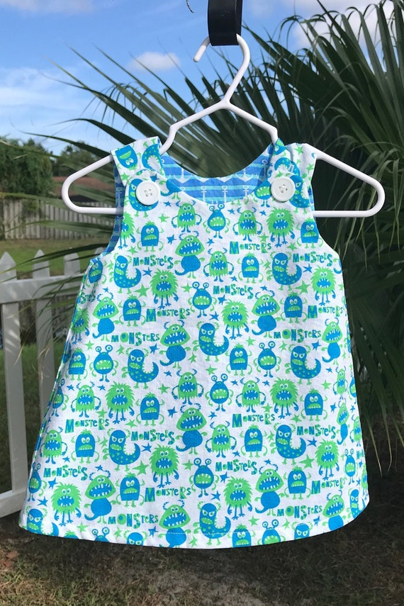 2d5b21c24 Reversible Baby Girl Jumper Dress in Blue Sailboats and