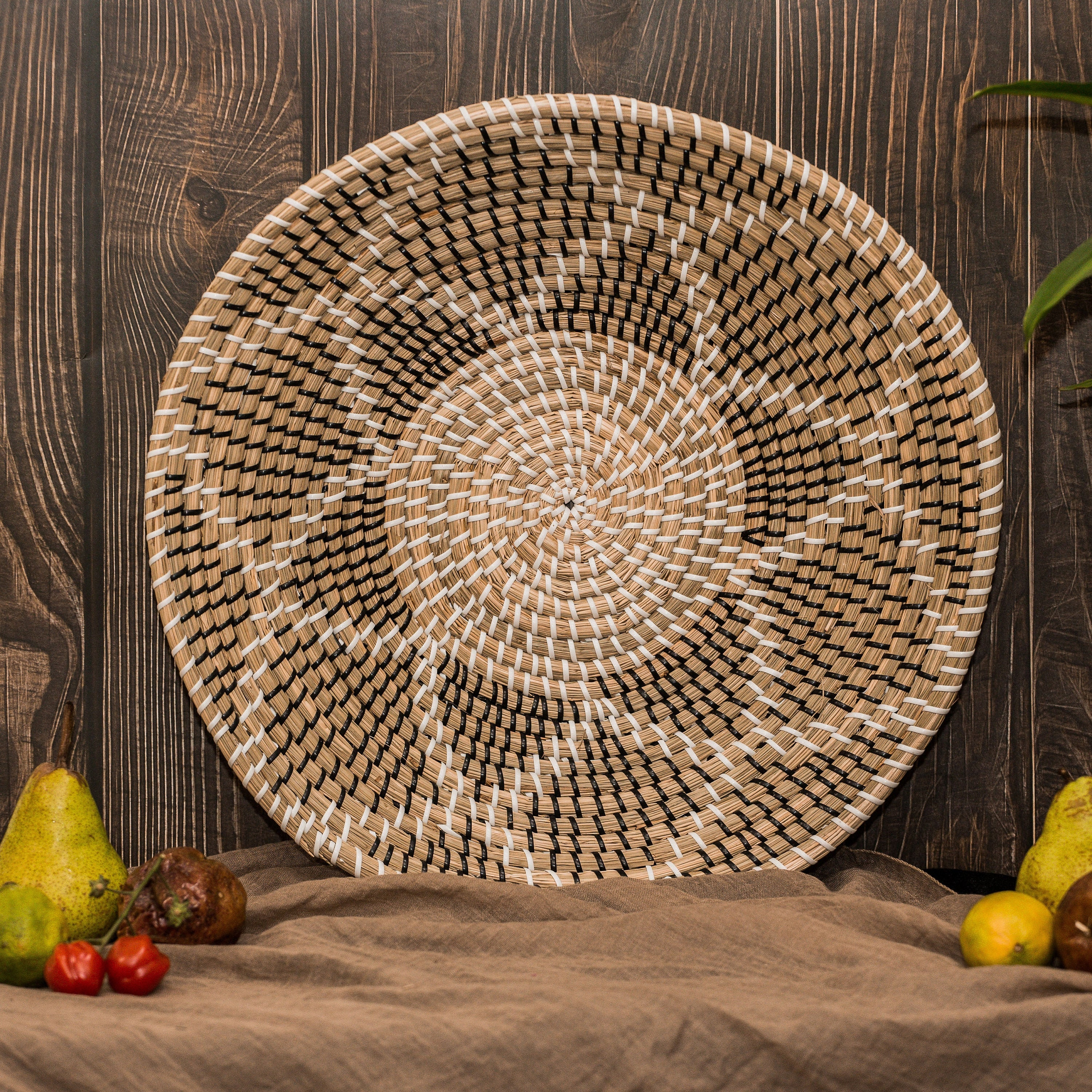 Boho Round Rattan Flower Serving Tray Aria