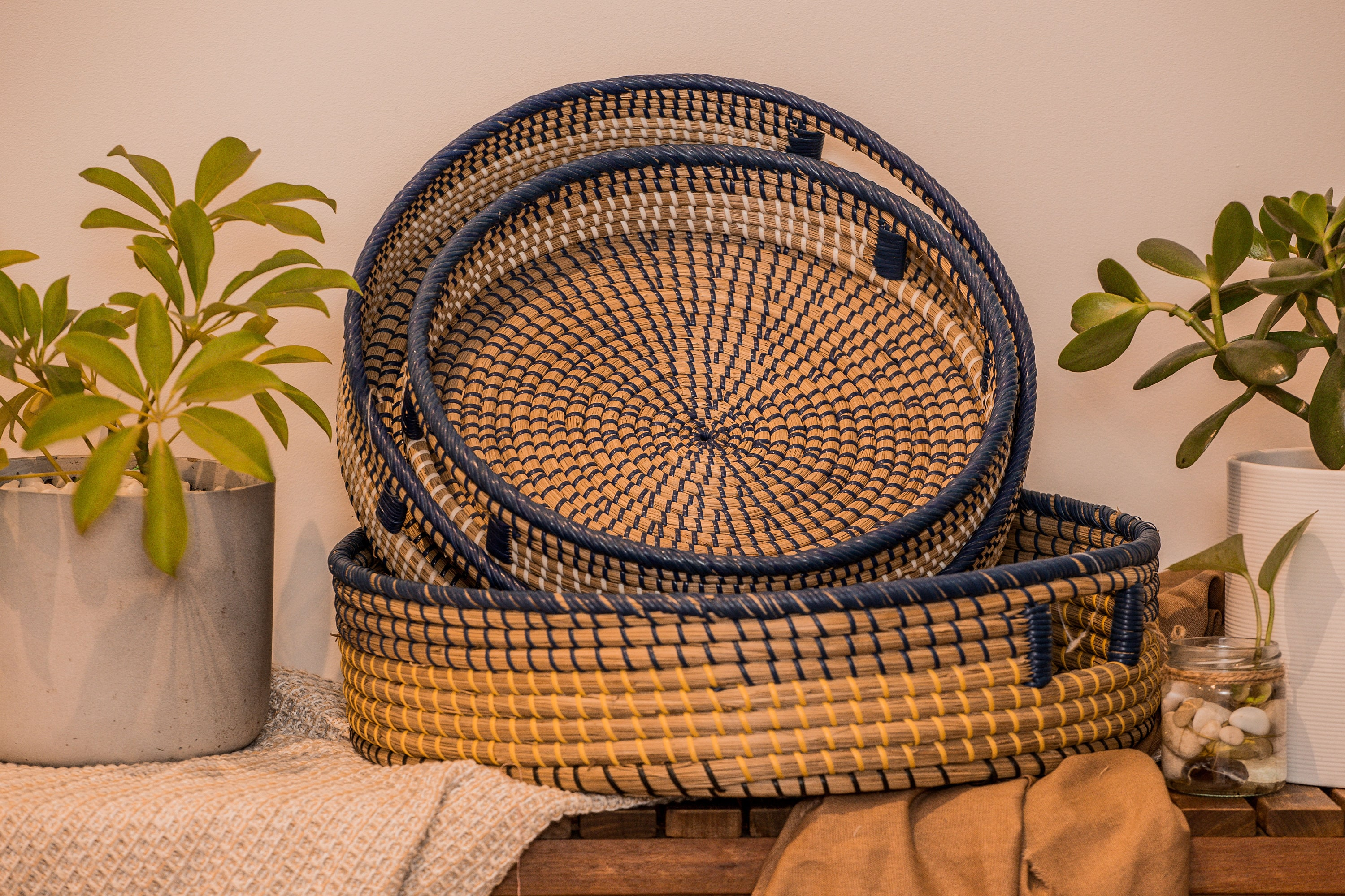 Set Of 3 Boho Round Rattan Drink Serving Tray Fleur