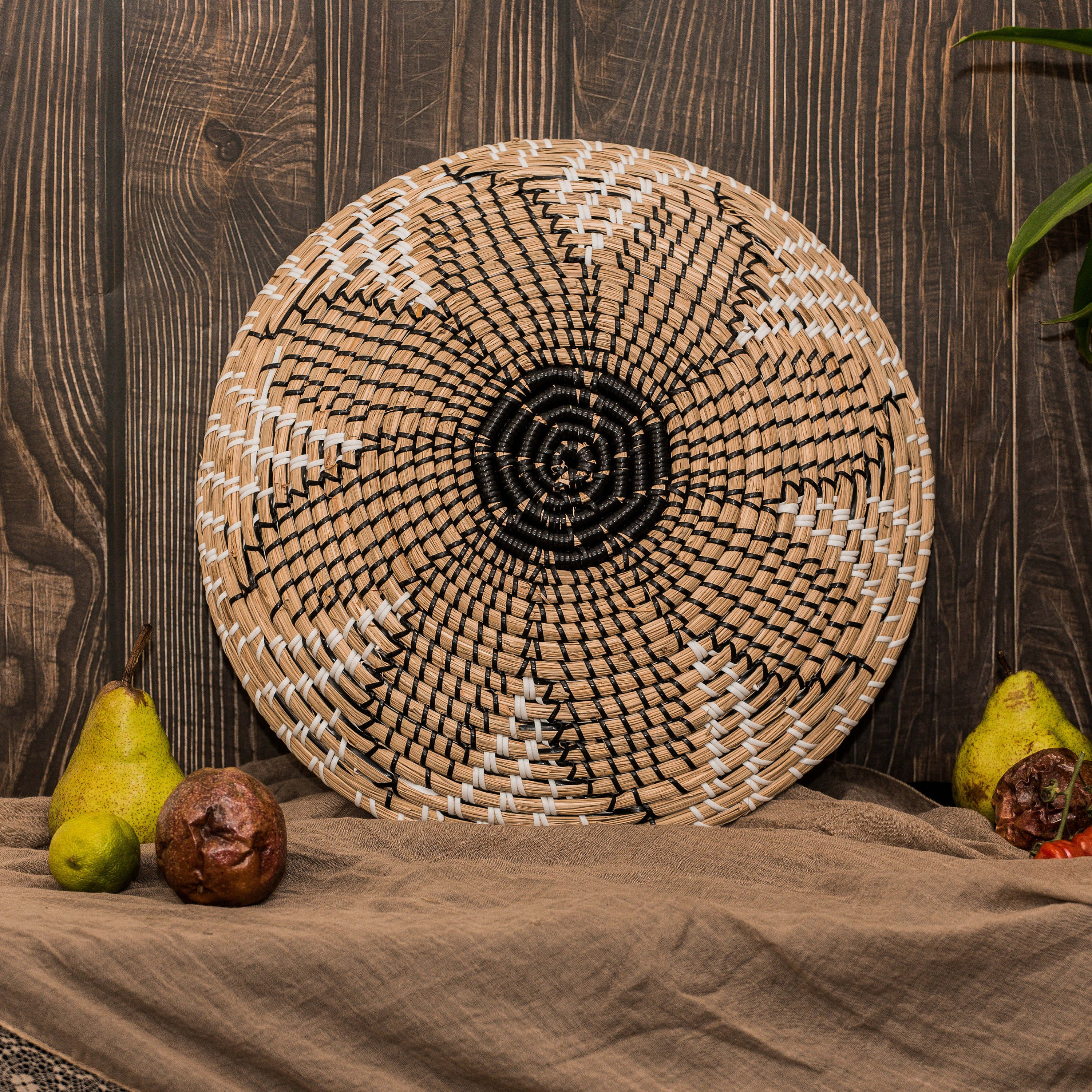 Boho Round Rattan Serving Tray Sun Flower
